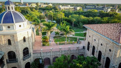 Aerial view of The University of Texas Rio Grande Valley campus