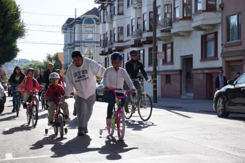Children and adults biking in San Francisco