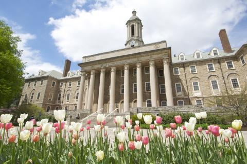 Old Main Building and Flowers