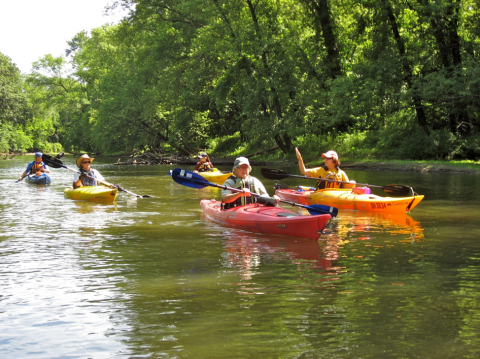 People kayaking on the Cayahoga