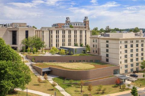view of University of Arkansas buildings