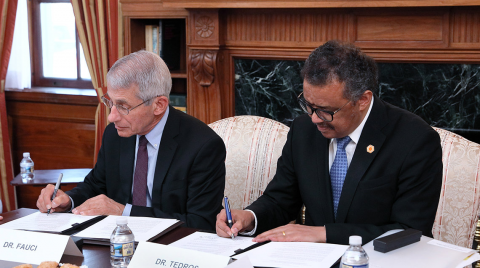 Dr Anthony Fauci, Director of the National Institute of Allergy and Infectious Diseases (NIAID) and Dr Tedros Adhanom Ghebreyesus, Director-General of the World Health Organization (WHO)