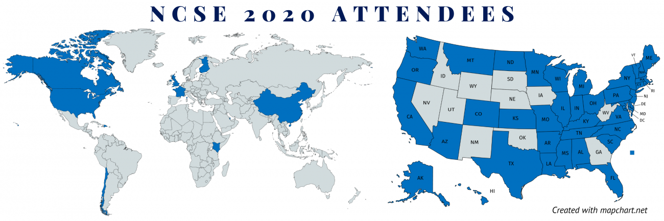 Map of world and USA showing where NCSE 2020 attendees are from