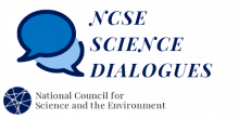 "Two speech bubbles with text ""NCSE Science Dialogues"" and NCSE logo"