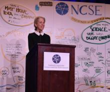 Executive Director Michelle Wyman at the podium at a NCSE Annual Conference